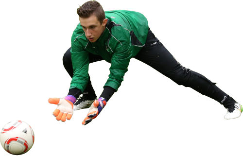 Goalkeeper diving for the ball.